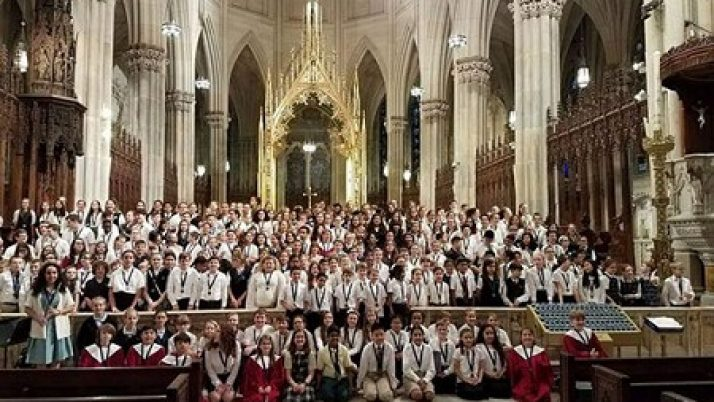 Choir from St. Gregory the Great Academy sings for Mass in St. Patrick's Cathedral