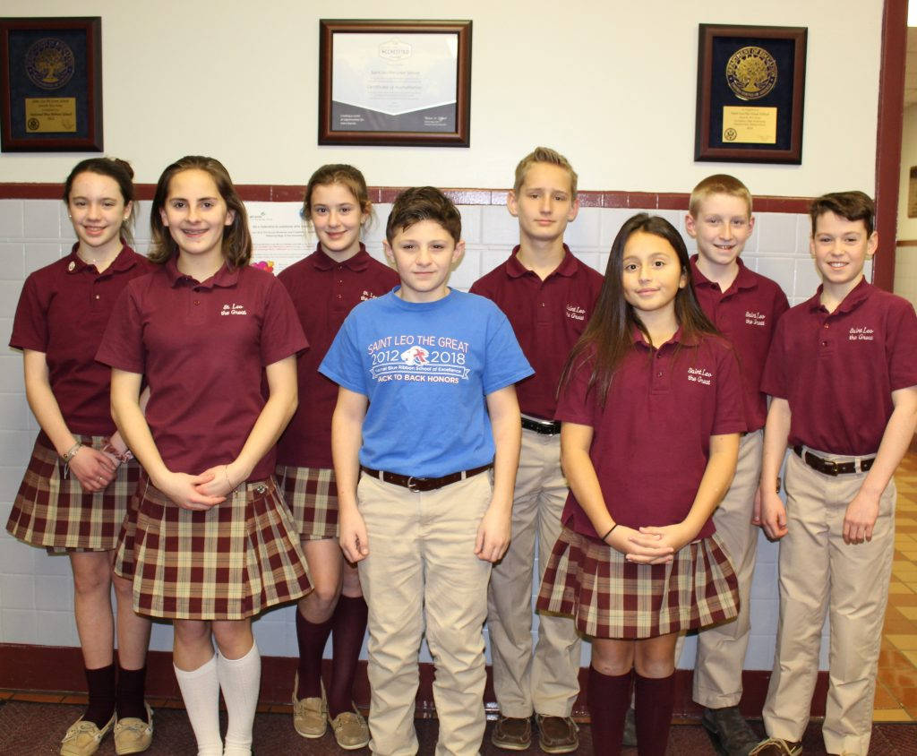 St. Leo the Great School students, Lincroft, were recognized for grades six, seven and eight in the DAR Essay contest. Courtesy photo
